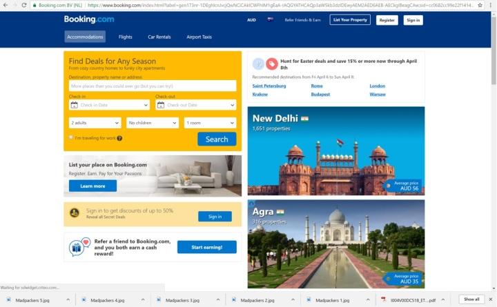 Booking.com homepage
