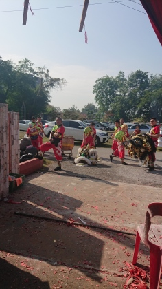 The lion dance at the temple