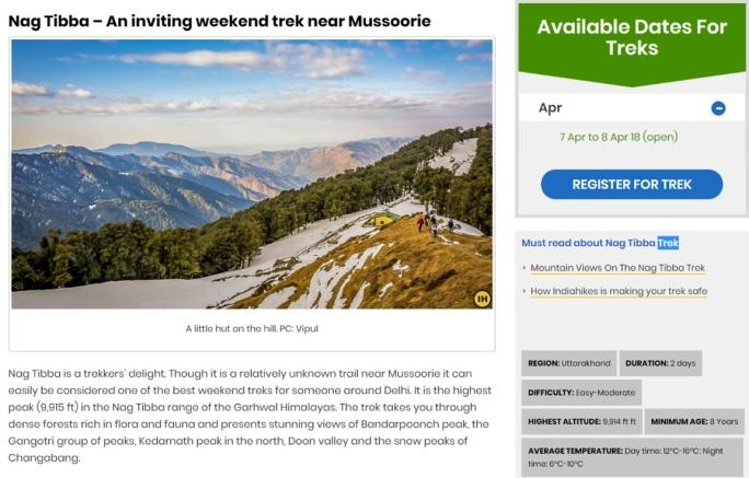 India Hikes - Nag Tibba Trek Home Page