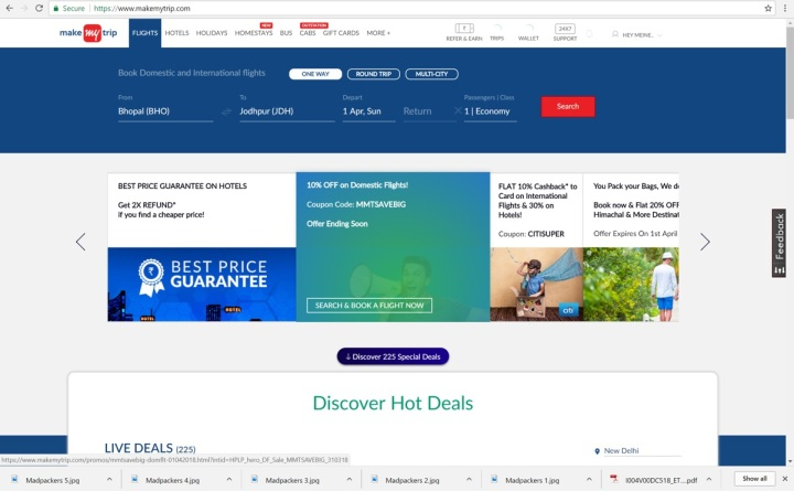 makemytrip.com homepage
