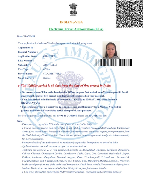 Official Visa Approval Document