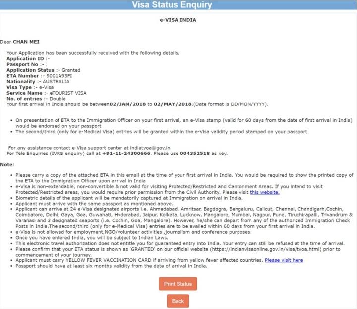 Visa Status Enquiry