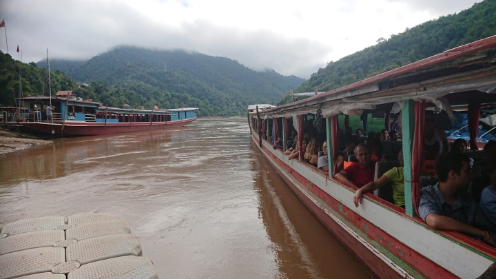 Crossing the border from Thailand to Laos and catching the two-day slow boat to Luang Prabang